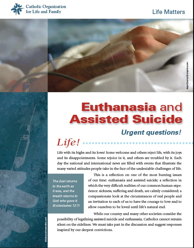 assisted suicide or euthanasia Euthanasia [greek, good death] the term normally implies an intentional termination of life by another at the explicit request of the person who wishes to die euthanasia is generally defined as the act of killing an incurably ill person out of concern and compassion for that person's suffering.