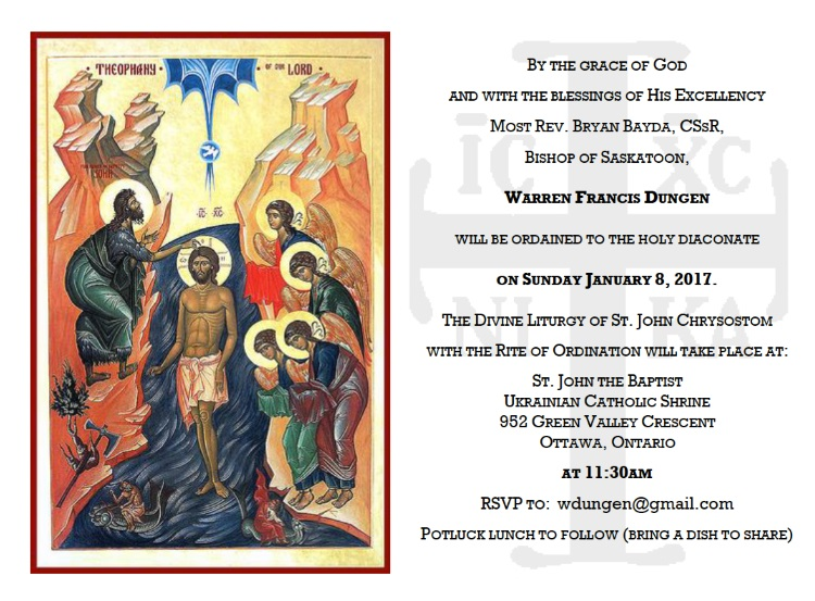 Diaconate Ordination Invitation - Warren Dungen