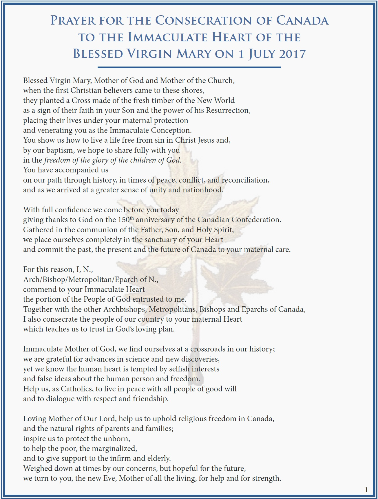 CCCB – July 1, 2017 – Prayer for Consecration of Canada to