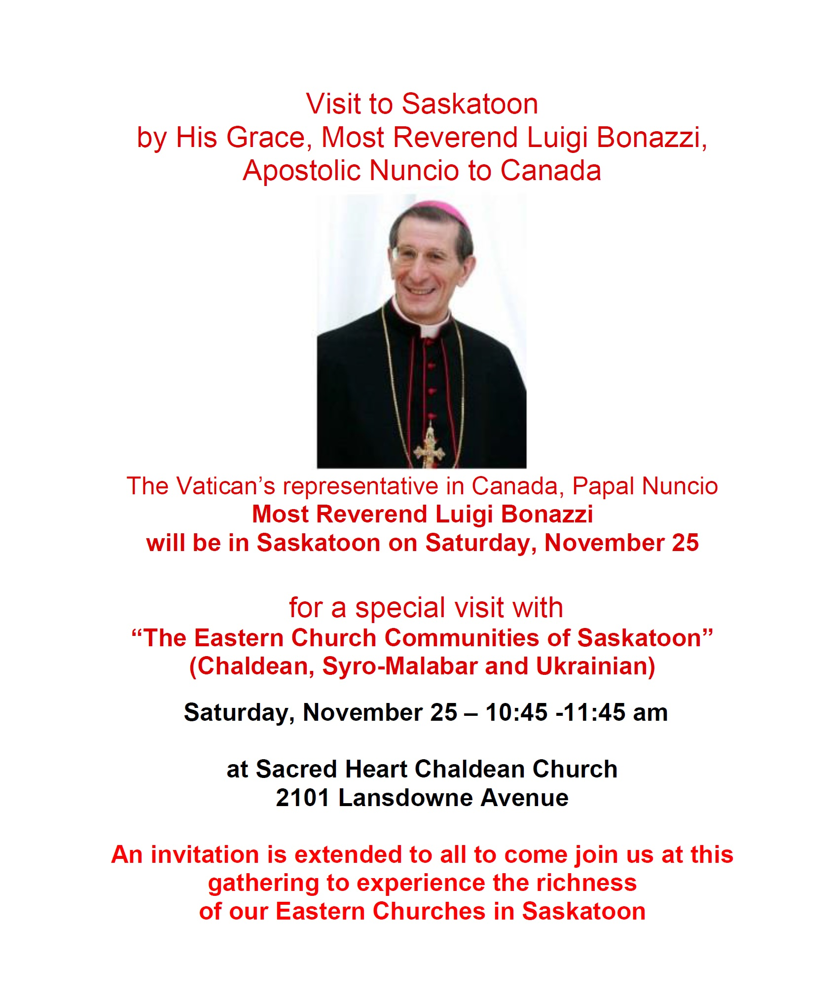 Invitation to the visit by his grace most reverend luigi bonazzi invitation to the visit by his grace most reverend luigi bonazzi apostolic nuncio to canada on saturday november 25 2017 sacred heart chaldean church stopboris Choice Image
