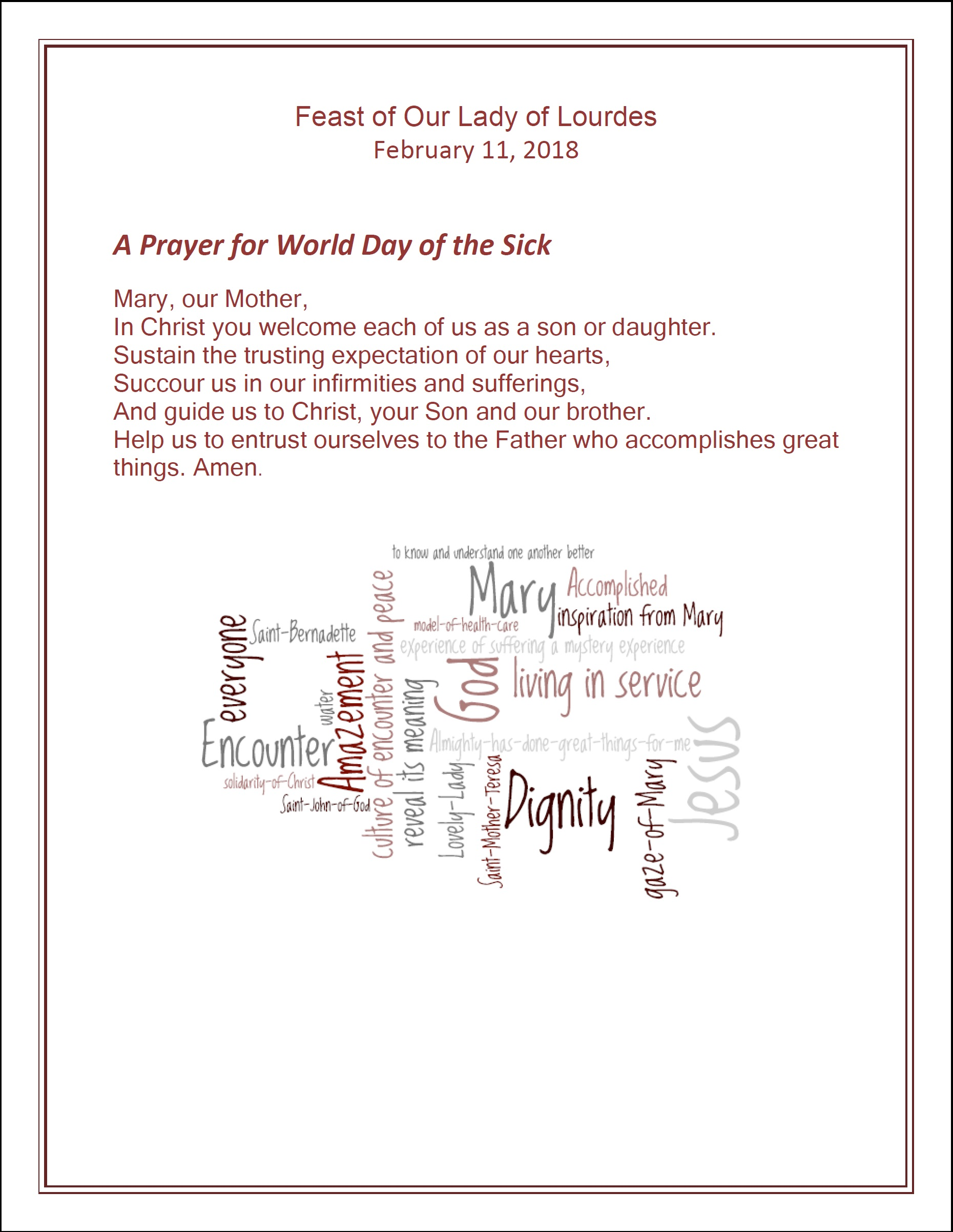 XXVI World Day of Prayer of the Sick 2018 – February 11 – Message