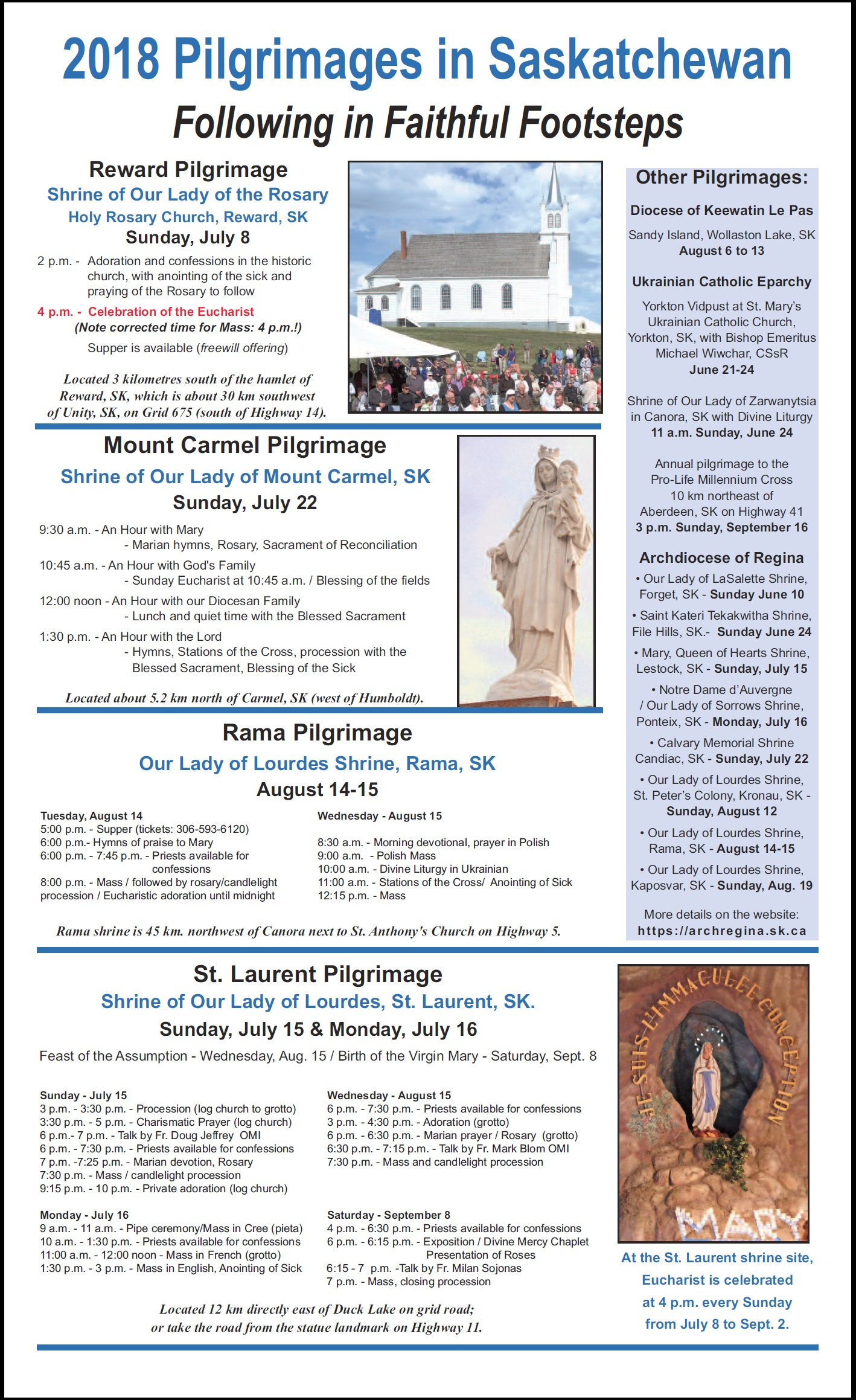 "2018 Pilgrimages in Saskatchewan ""Following in Faithful"