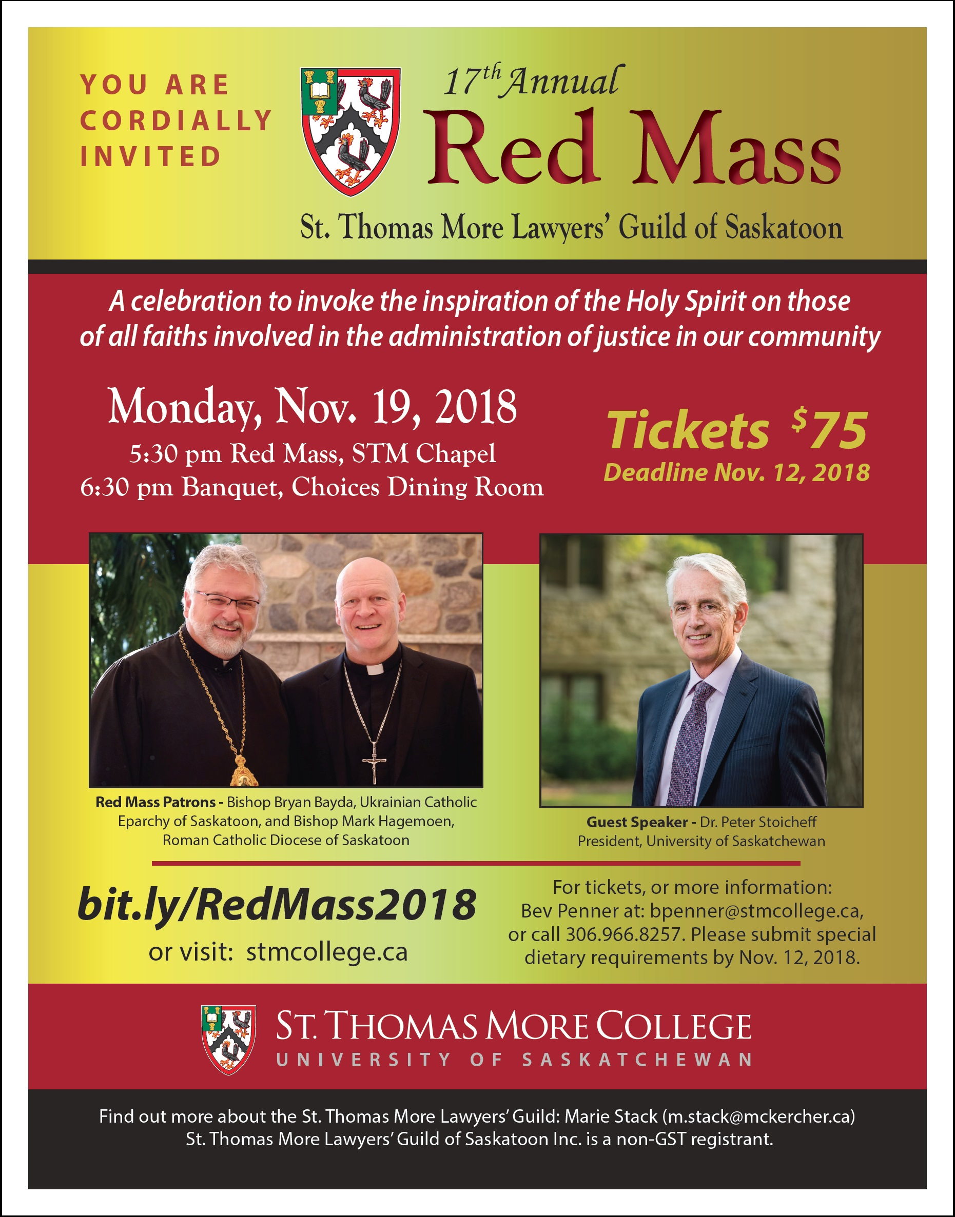 17th Annual Red Mass & Banquet – St  Thomas More College